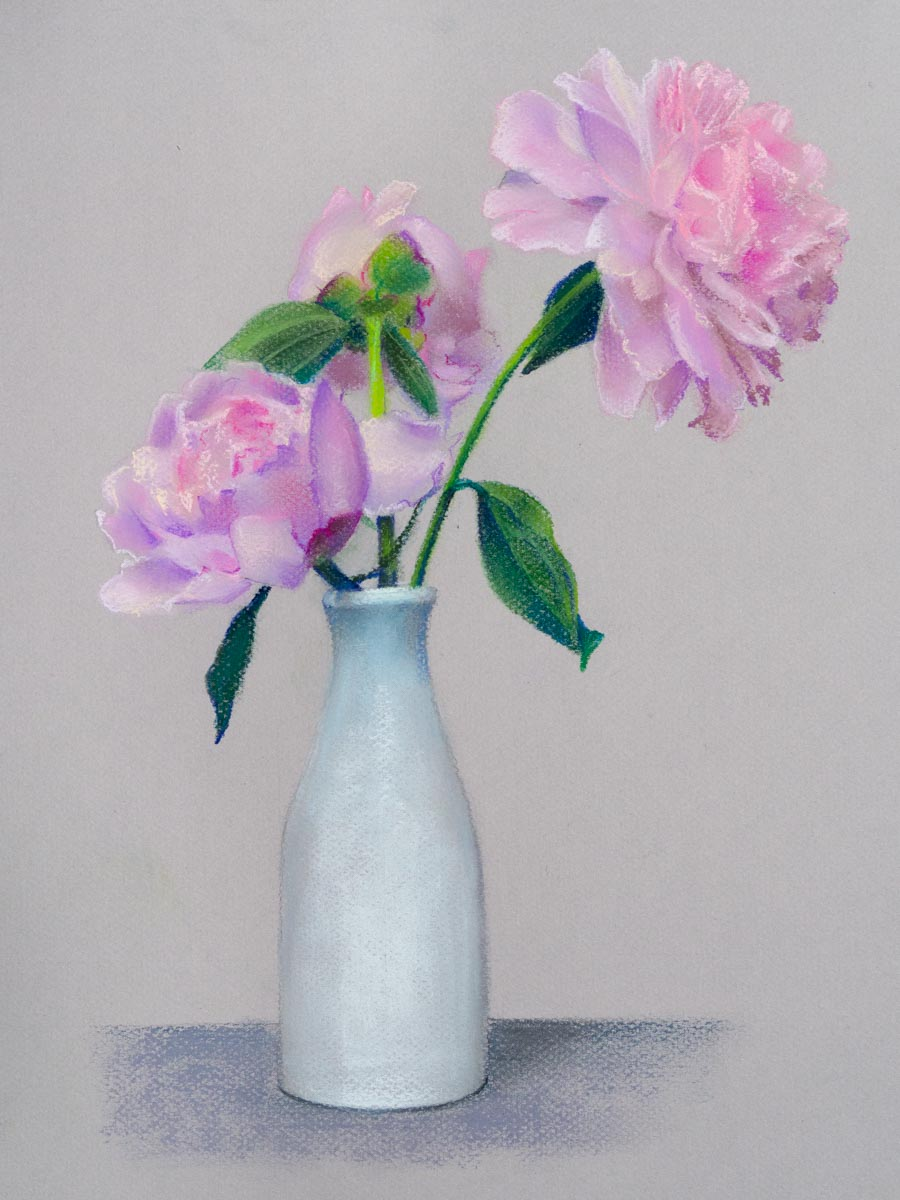 Pink peonies in a white vase