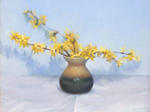 Forsythia flowers in a vase
